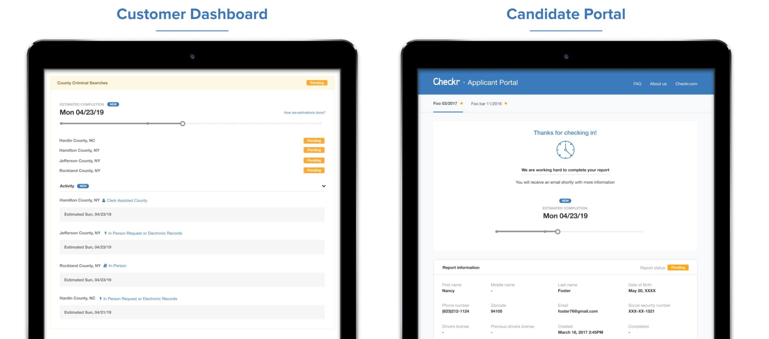customer dashboard candidate portal